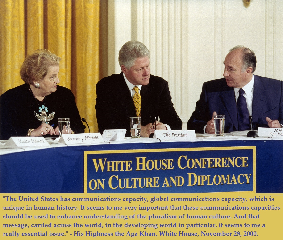 Aga Khan with Bill Clinton White House; Barakah and Simerg