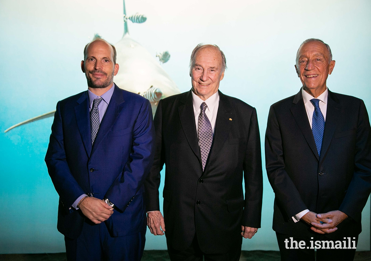 Prince Hussain, His Highness the Aga Khan and Portuguese President Marcelo Rebelo de Sousa at The Living Sea exhibition at the National Museum of Natural History and Science in Lisbon.