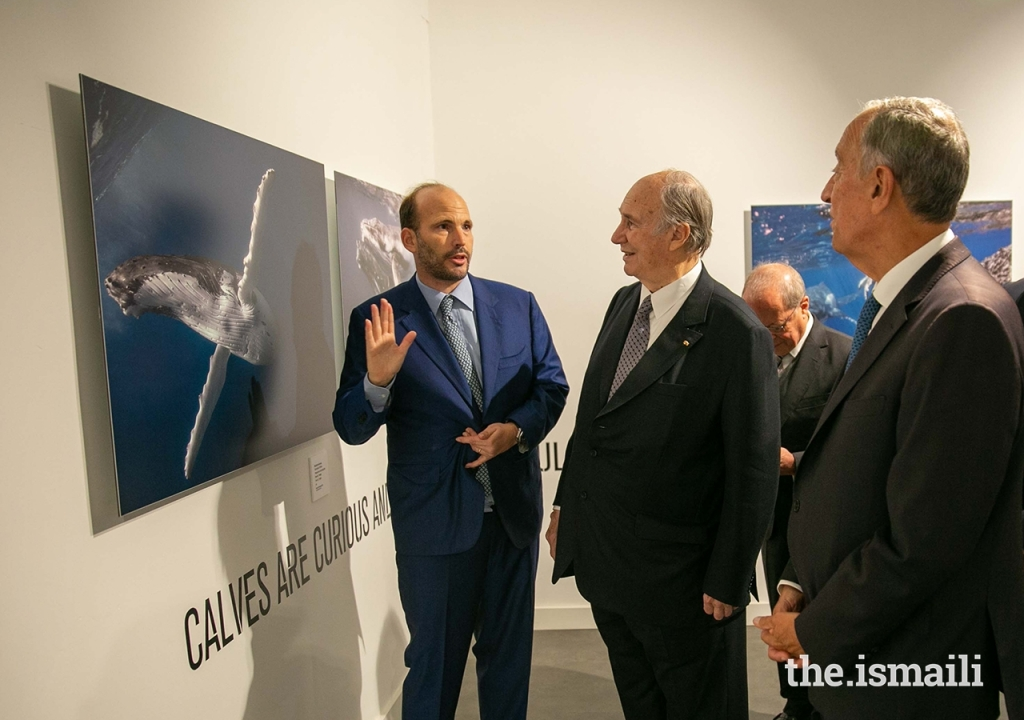 Prince Hussain, His Highness the Aga Khan and Portuguese President Marcelo Rebelo de Sousa pictured on November 6, 2019 at The Living Sea photo exhibition at the National Museum of Natural History and Science in Lisbon.