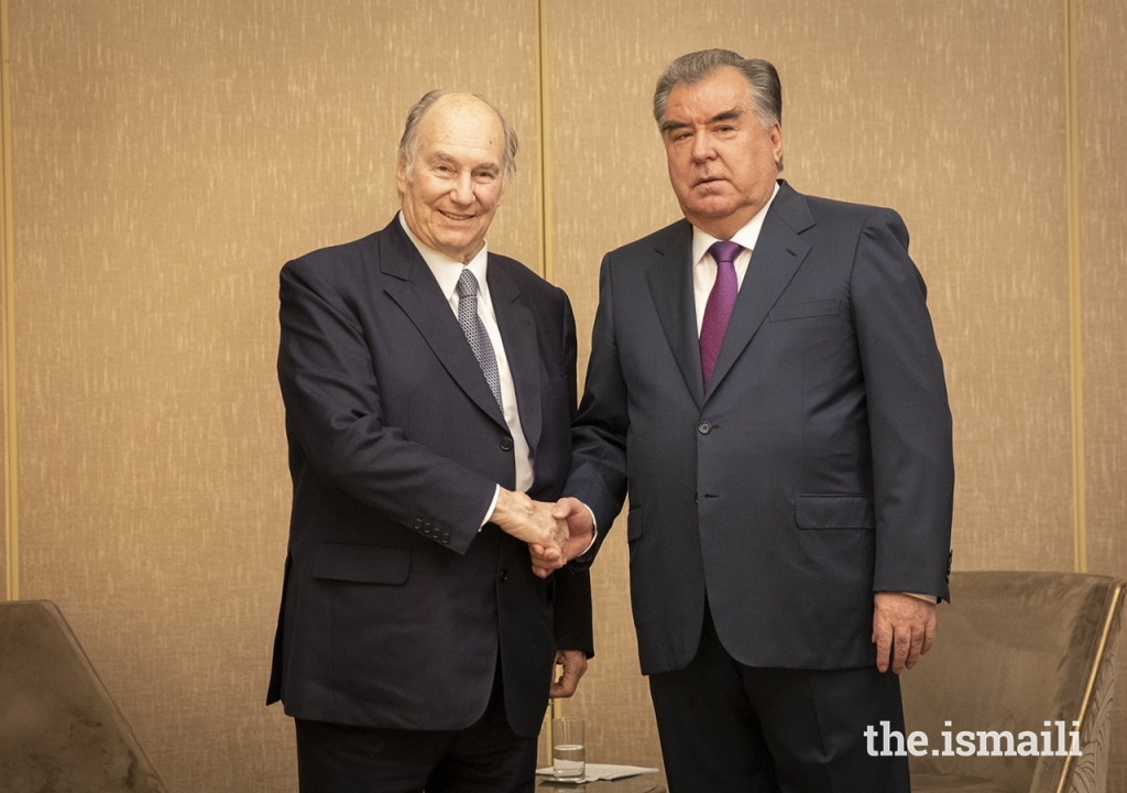Mawlana Hazar Imam, His Highness the Aga Khan with President Rahmon of Tajikistan ahead of Paris Peace Forum, Barakah and Simerg