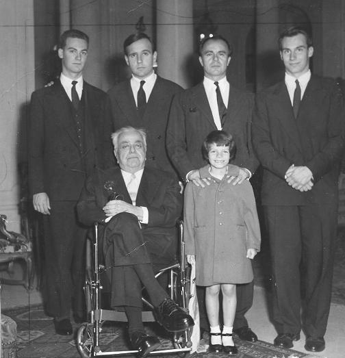 His Highness the Aga Khan III with Prince Aly Khan, Princess Yasmin, Prince Sadruddin, Prince Amyn Muhammad and His Highness the Aga Khan IV