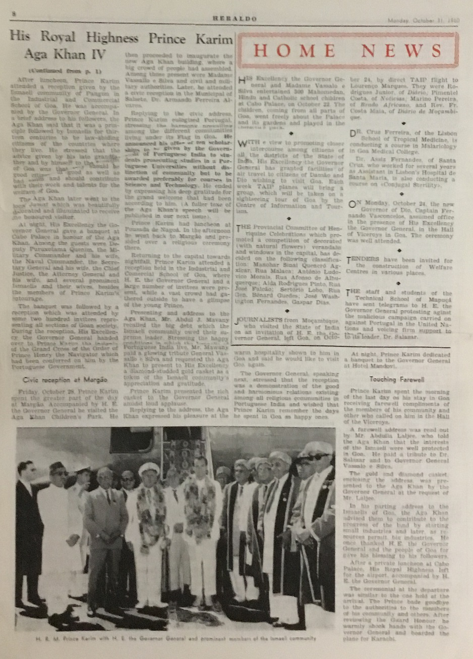Aga Khan in Goa Heraldo October 31, 1960, Simerg and Barakah