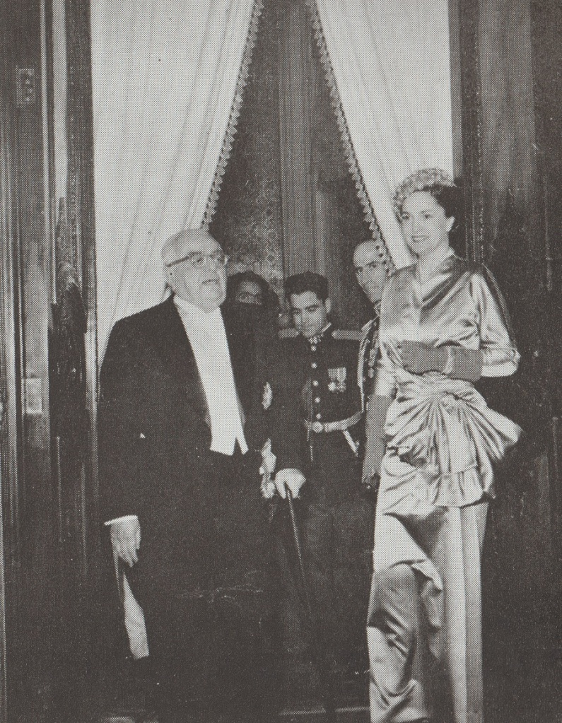 Aga Khan III at Shah's marriage ceremony in 1951, Barakah.