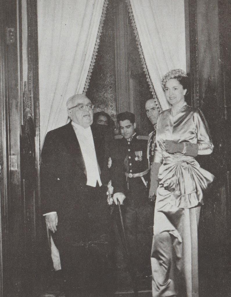 Aga Khan III at Shah's marriage ceremony in 1951, Barakah.