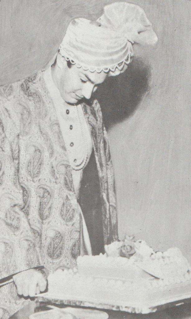 Mawlana Hazar Imam Aga Khan cutting birthday cake in Karachi DEcember 13 1964 Barakah and Simerg