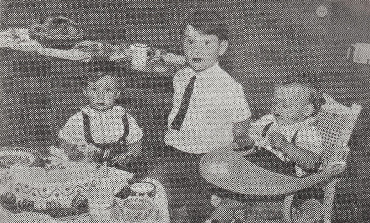 Prince Karim Aga Khan celebrating his 2nd birthday with his uncle Prince Sadruddin and his brother Prince Amyn.