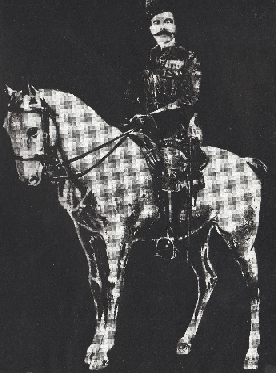 Aga Khan III on horse, Barakah and Simerg