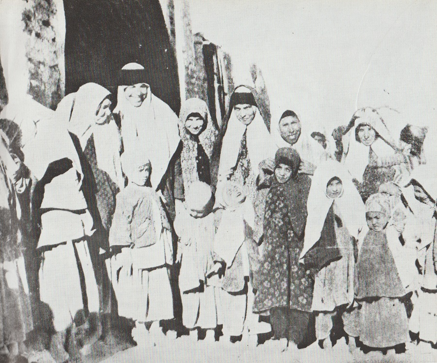 Ismaili women and children at Mahallat, Aga Khan III visit 1951, Barakah