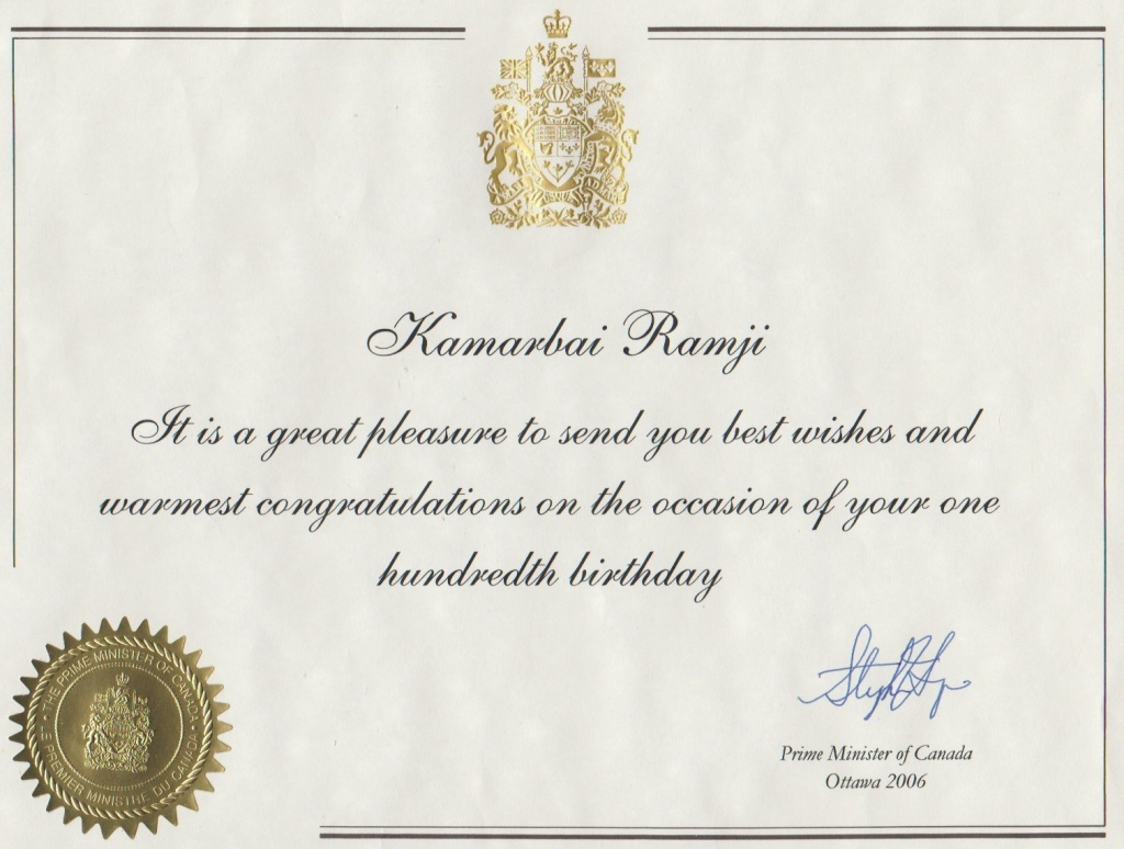 100th birthday message from PM Stephen Harper