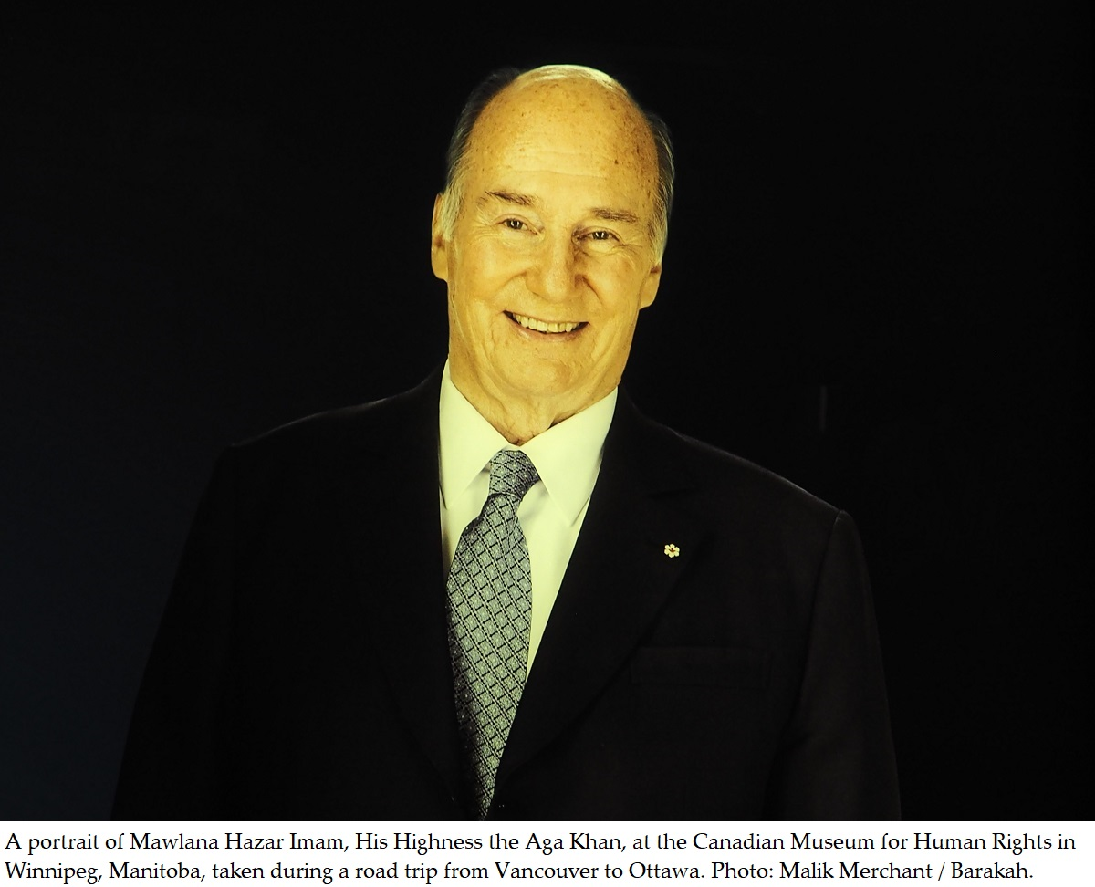 A depiction of Mawlana Hazar Imam, His Highness the Aga Khan, at a Canadian Museum, and birthday messages from Canadian Ismaili leadership and Prime Minister