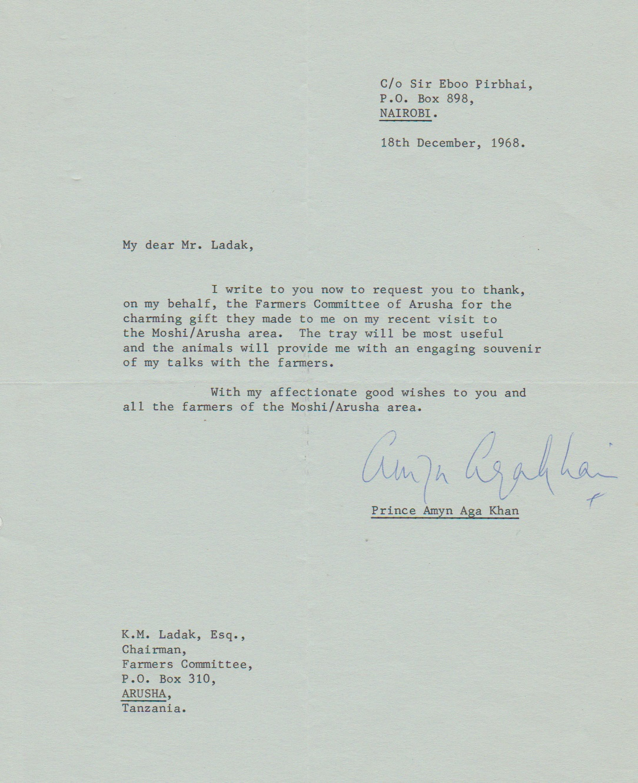 Prince Amyn Aga Khan Arusha visit 1968, Barakah and Simerg