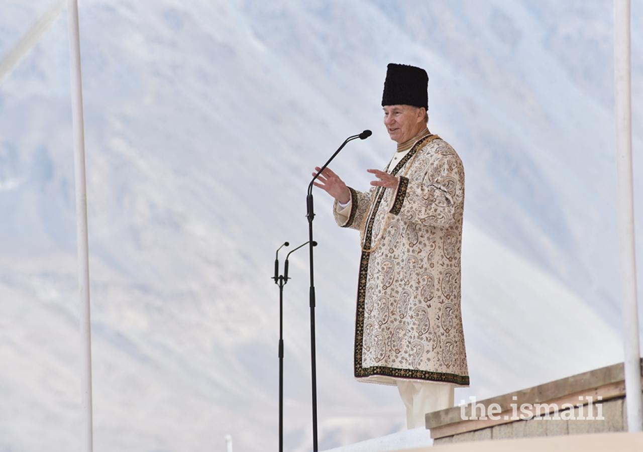 Mawlana Hazar Imam, His Highness the Aga Khan, during his Diamond Jubilee visit at Taus, Pakistan