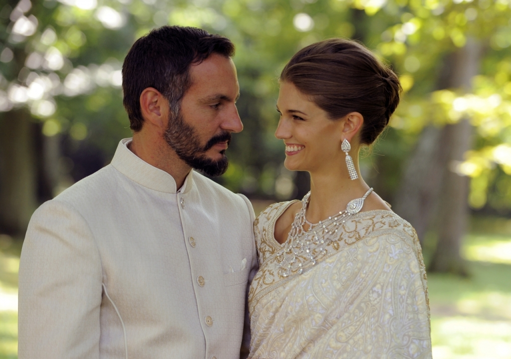 Prince Rahim Aga Khan with Princess Salwa in Geneva on their wedding day, August 31 2013.