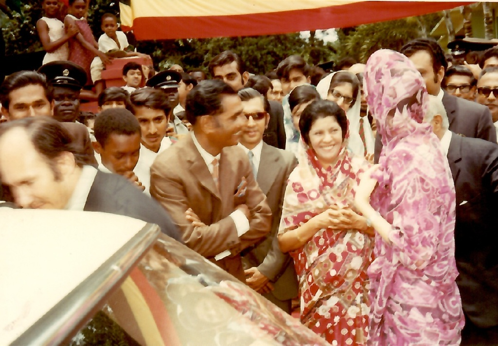 Aga Khan, Mawlana Hazar Imam, Begum Salimah in Jinja, Uganda, 1972. Simerg and Barakah Photo