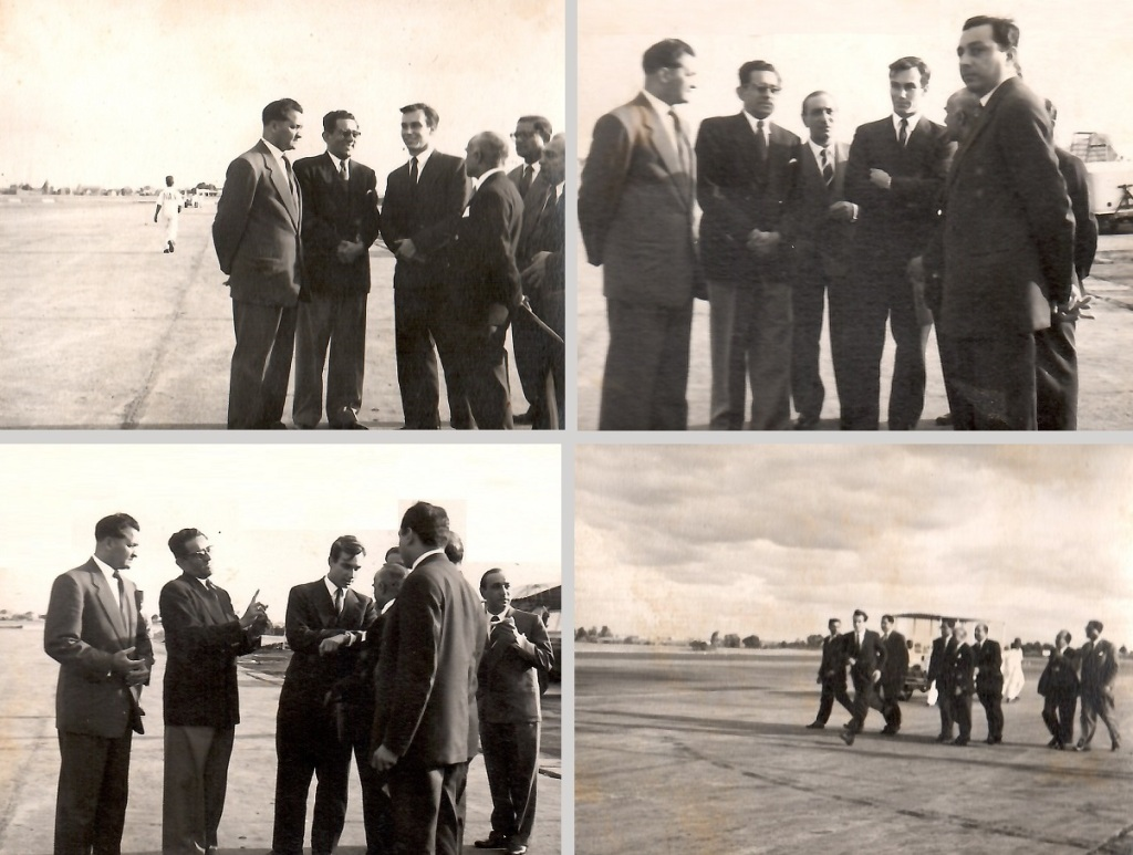 Aga Khan with Ismaili leaders at Nairobi airport Barakah. Aga Khan visits to South Africa, East Africa and Aga Khan III burial in Aswan, Egypt, and ceremonial installation of Aga Khan IV.  Barakah and Simerg photos from Zul Khoja Collection.