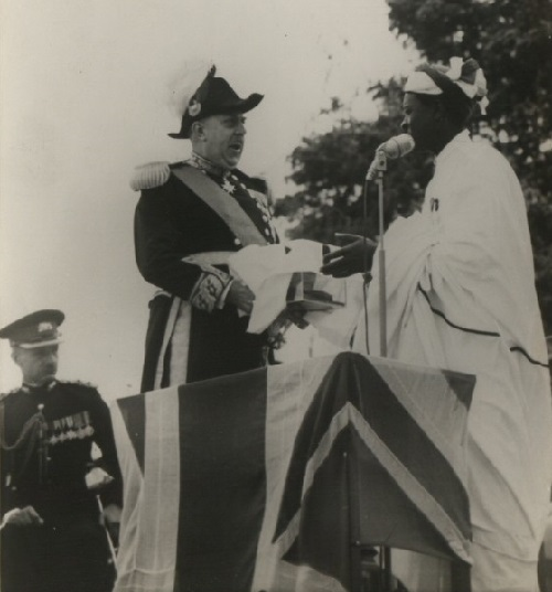 Chief Mkwawa's skull being returned to Tanganyika by British Governor Edward Twinning.