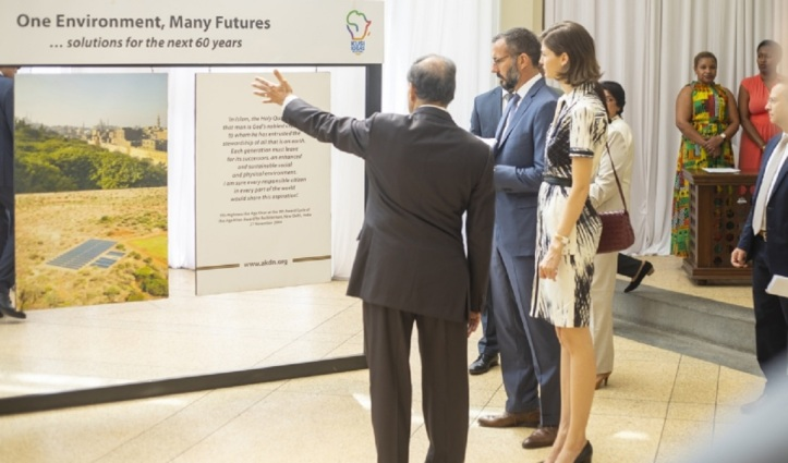 Prince Rahim and Princess Salwa Aga Khan attending an exhibition at Town Jamatkhana Nairobi