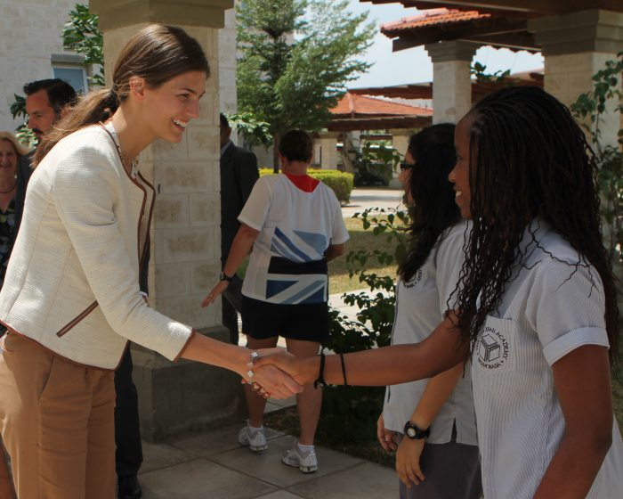 Princess Salwa greets student at Aga Khan Academy in Mombasa.