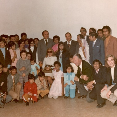 Prince and Princess Sadruddin Aga Khan with Asian refugees at a camp in Italy, photo Barakah