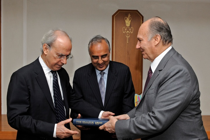 Aga Khan with Azim Nanji and Farhad Daftary