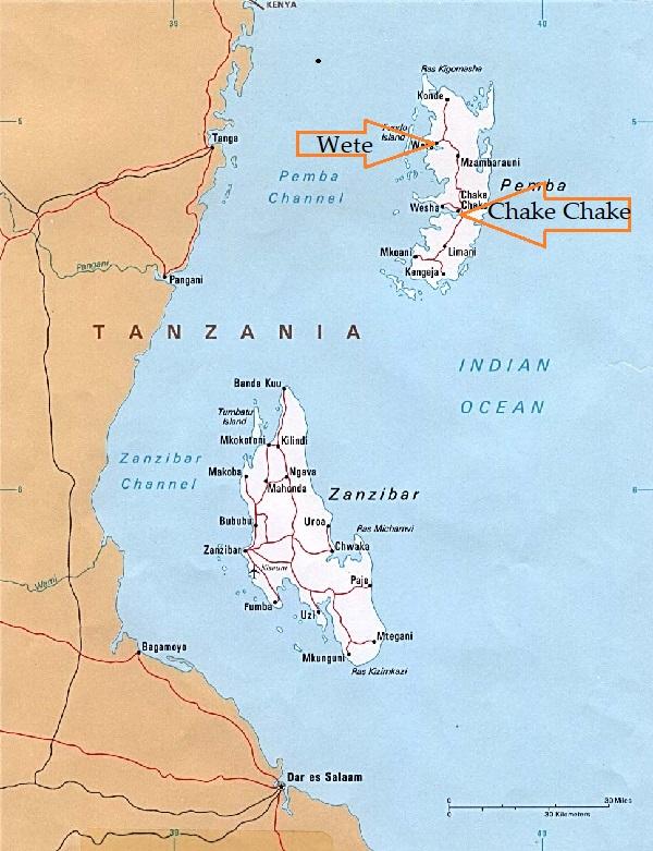 Map of Pemba with Chake Chake and Wete, and also Zanzibar Tanzania and Kenya Indian Ocean Barakah