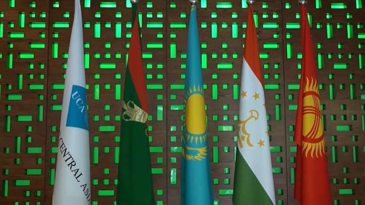Flags of the University of Central Asia, the Ismaili Imamat and the University's treaty partners Kazakhstan, Tajikistan and Kyrgyzstan at the convocation ceremony held on June 19, 2021 at campuses in Khorog and Naryn