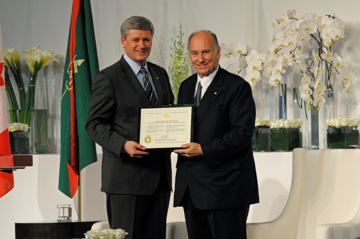 Aga Khan and Stephen Harper at Foundation of Aga Khan Museum, Ismaili Centre and their Park.