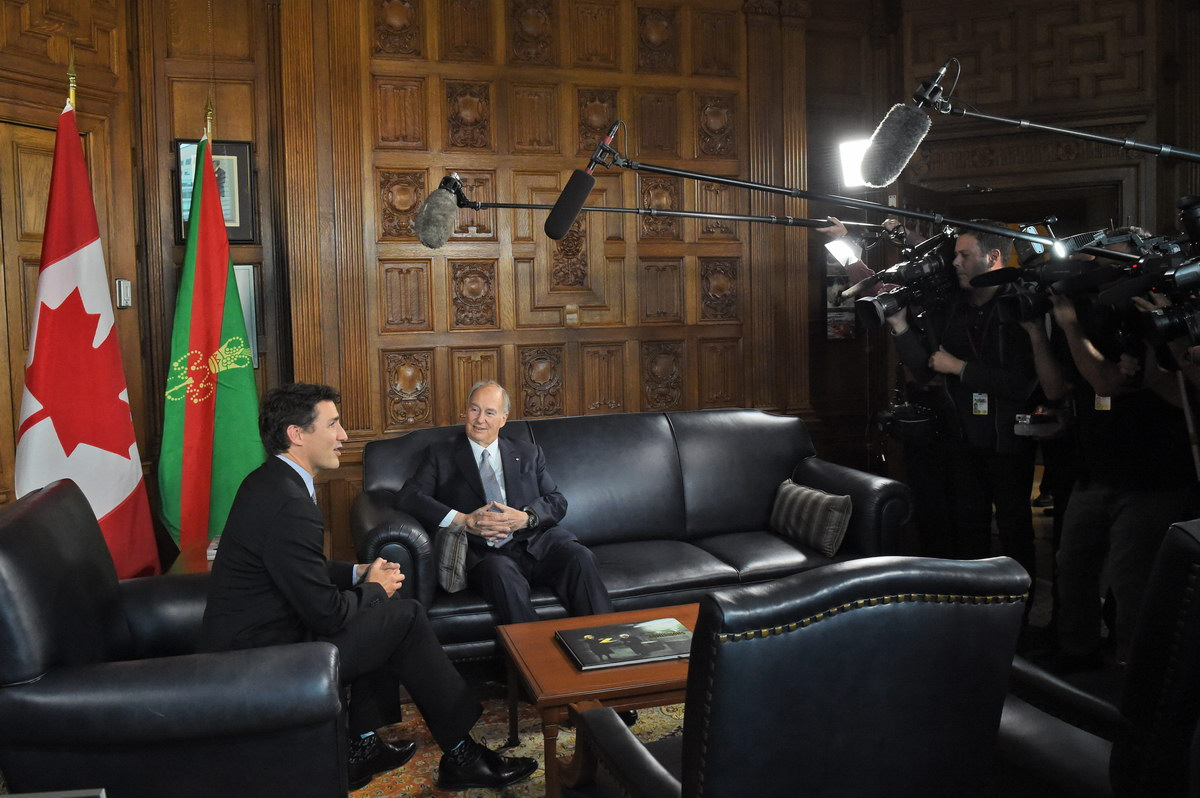 The Flag of the Ismaili Imamat Parliament Hill Prime Minister Trudeau and Aga Khan Barakah