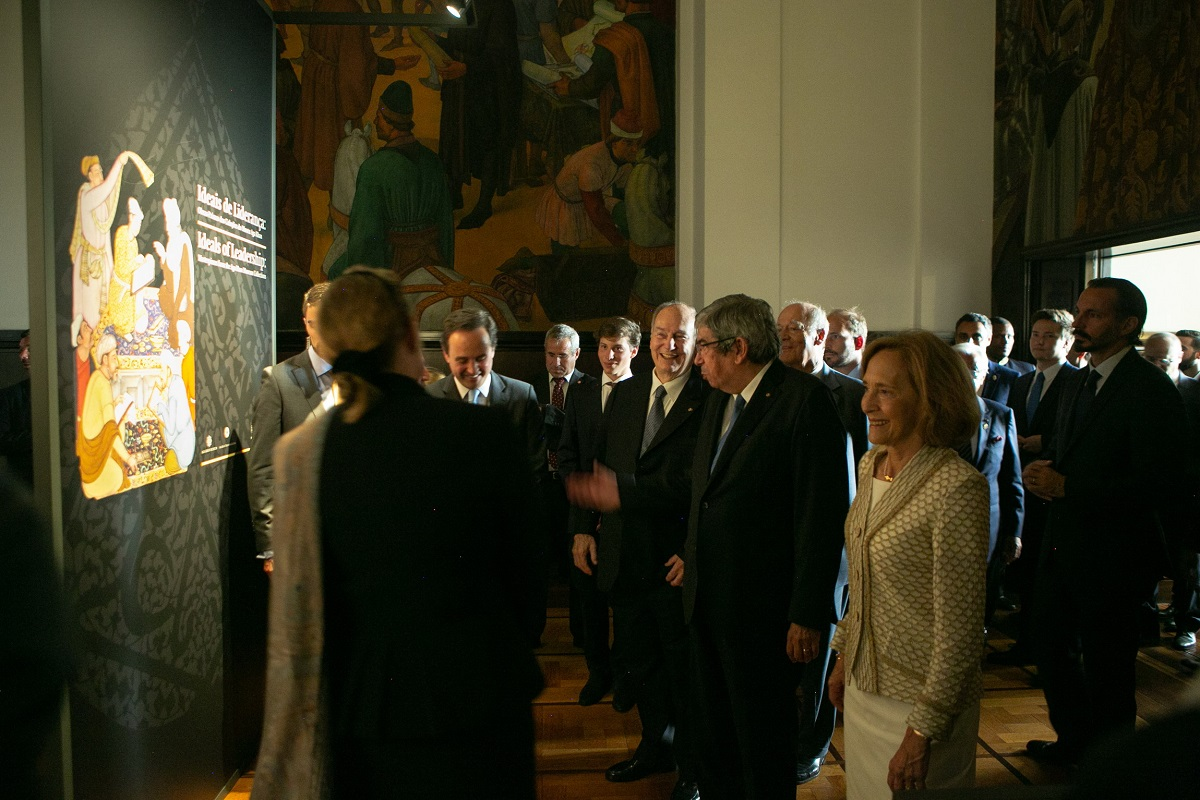 Aga Khan at Ideals of Leadership: Masterpieces from the Aga Khan Museum Collections, hosted at the Parliament building, São Bento Palace in Lisbon during the Diamond Jubilee visit in July 2018.