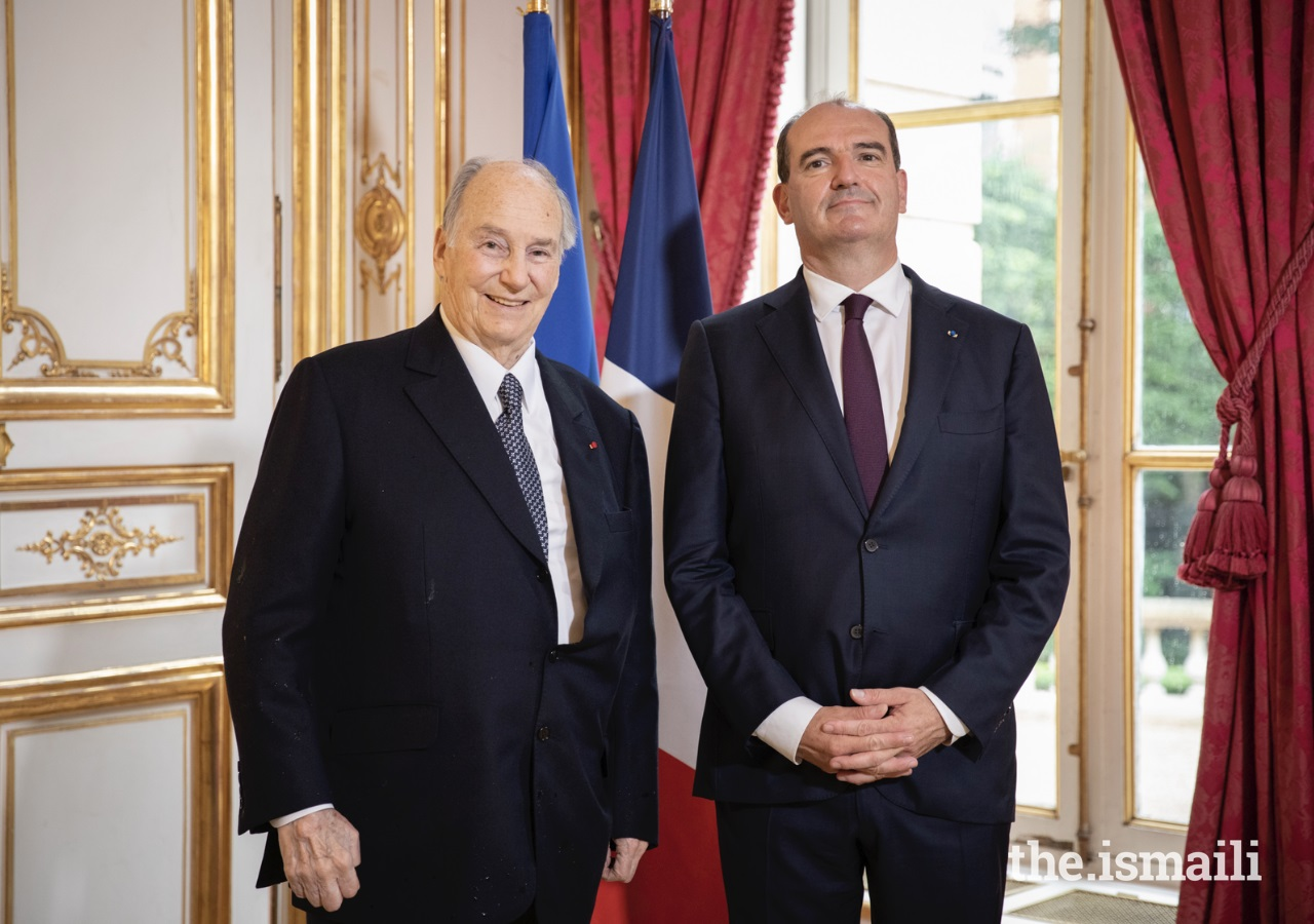 His Highness the Aga Khan, meets with French Prime Minister Jean Castex on 13 July 2021 Barakah.com