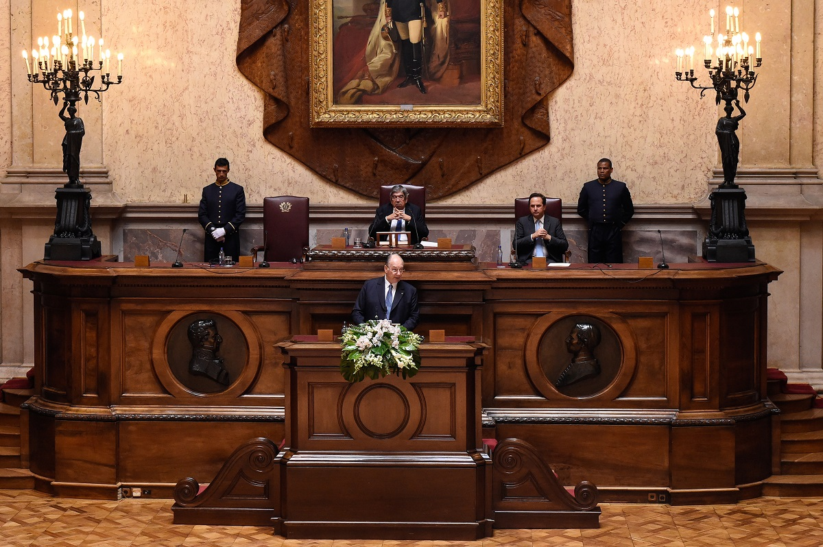 His Highness the Aga Khan, addresses Portugal's Members of Parliament in the Senate Chamber of the Portuguese Parliament Building on July 10, 2018 during his Diamond Jubilee visit to Portugal. Barakah.com