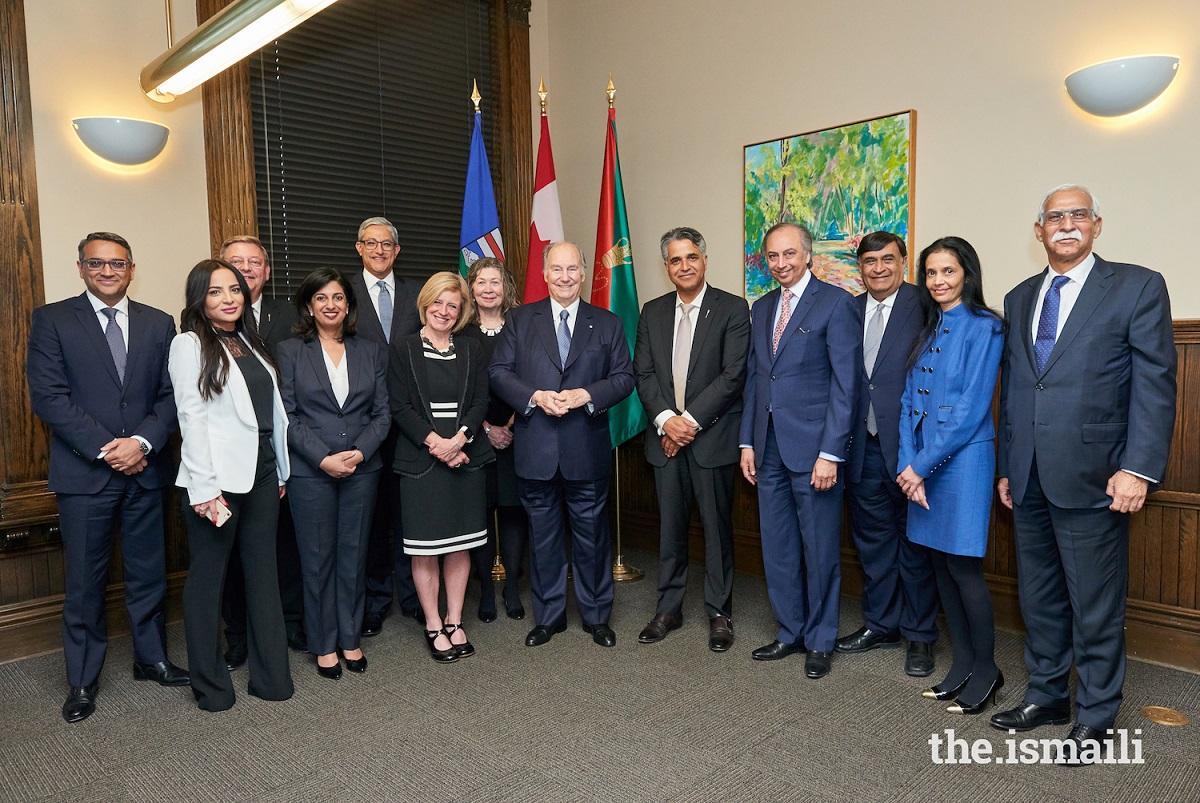 Mawlana Hazar, His Highness the Aga Khan, and Alberta Premier Rachel Notley Diamond Jubilee Barakah