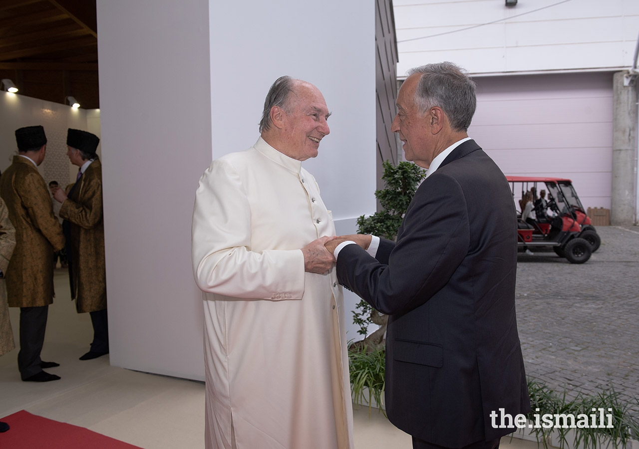 Highness the Aga Khan, receives Portugal's President Marcelo Rebelo de Sousa upon his arrival to the Darbar hall in Lisbon on July 11, 2018 on the occasion of his Diamond Jubilee